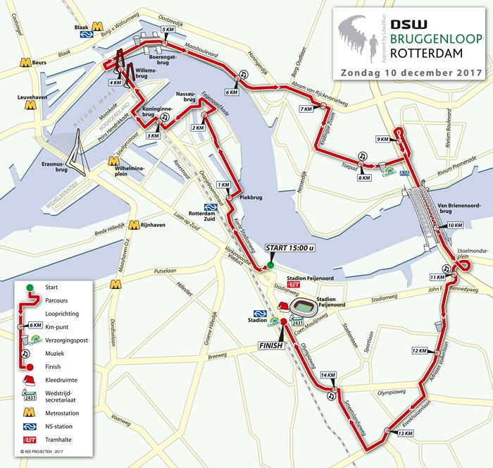 parcours Rotterdam Bruggenloop 2017