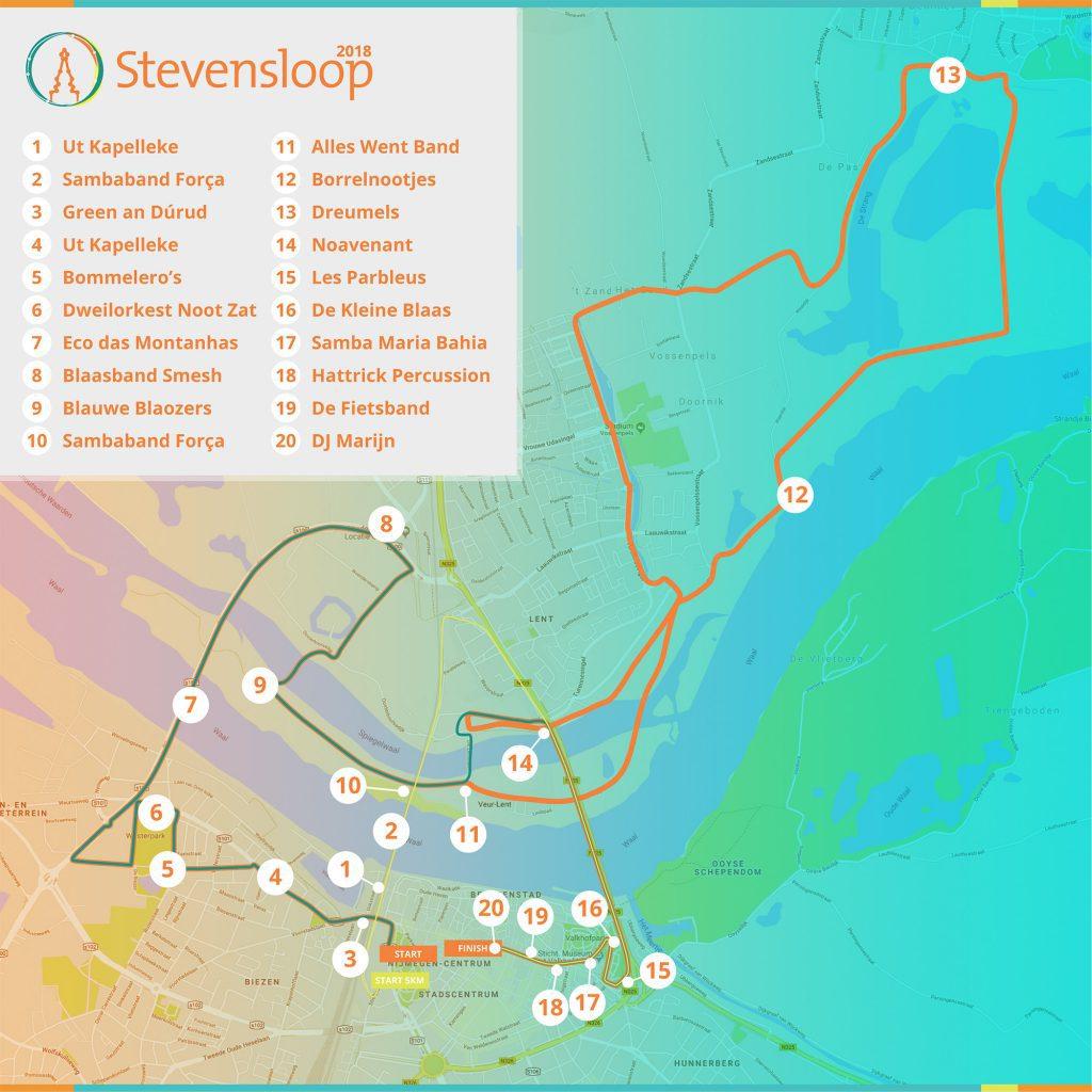 Muziekpunten Stevensloop 2018 plattegrond