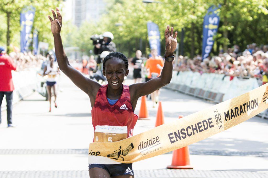 Enschede Marathon winnares Kellen Waithira