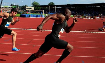Churandy Martina aan de start van de FBK Games in Hengelo