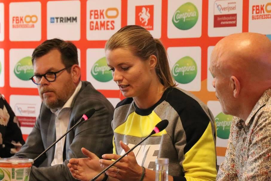 Dafne Schippers tijdens persconferentie FBK Games