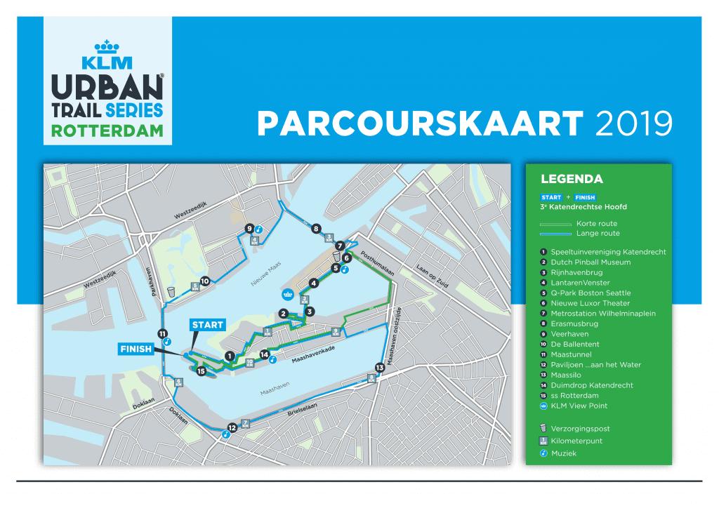 Parcourskaart Urban Trail Rotterdam