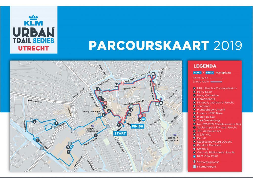 Urban Trail Utrecht parcourskaart