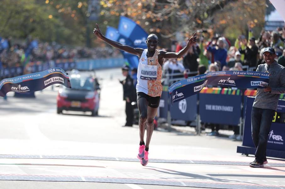 Geoffrey Kamworor winnaar New York Marathon 2019