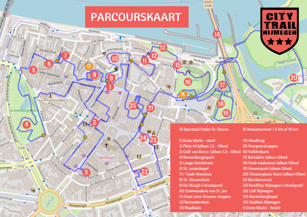City Trail Nijmegen parcourskaart 2019
