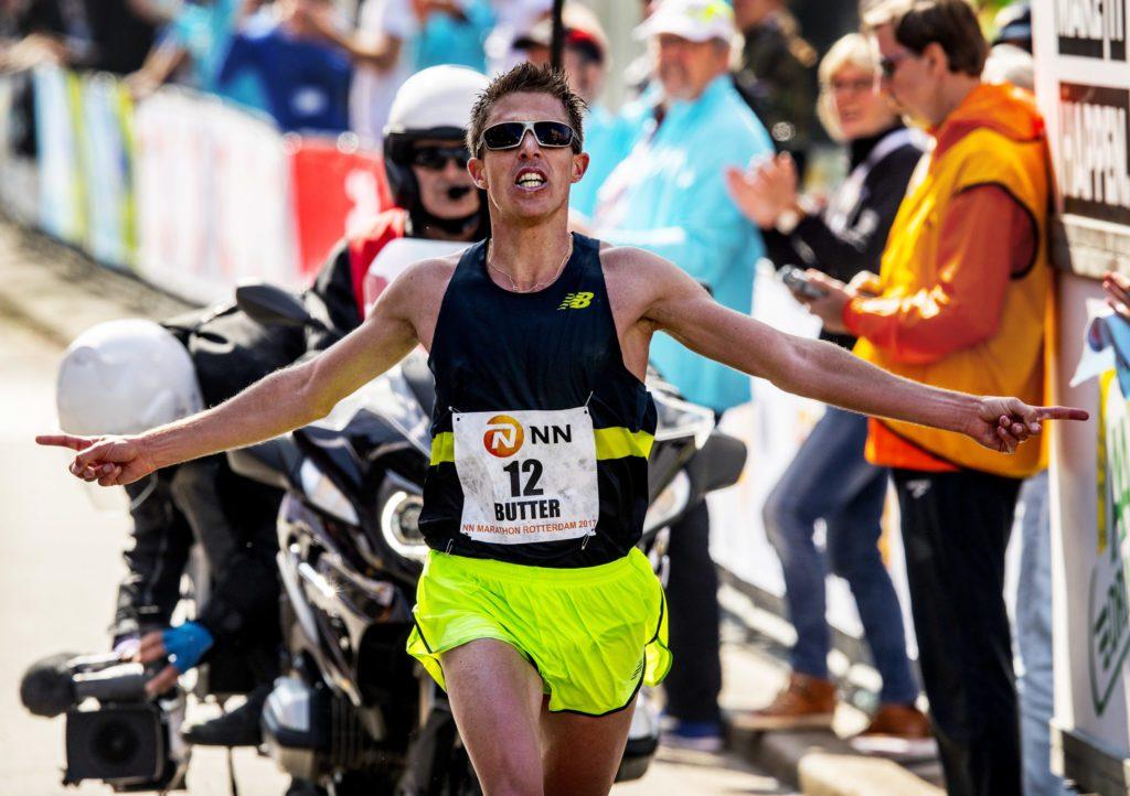 Michel Butter tijdens Marathon Rotterdam 2017