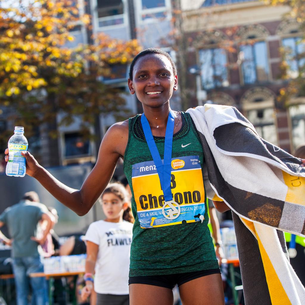 Eva Cherono Tijdens de 4 Mijl van Groningen
